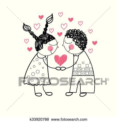 Clip Art Of Couple Red Heart Shape Love Holding Hands Drawing Simple