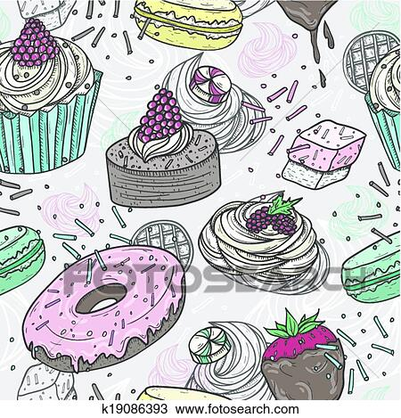 Clipart Of Cute Sweets Seamless Pattern K19086393 Search Clip Art