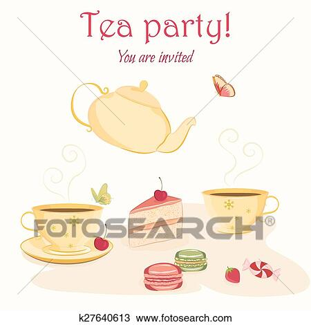 clipart of elegant tea party invitation template with teacups and