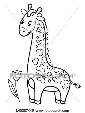 Clip Art Of Giraffe Baby Cartoon Vector Illustration K40387449