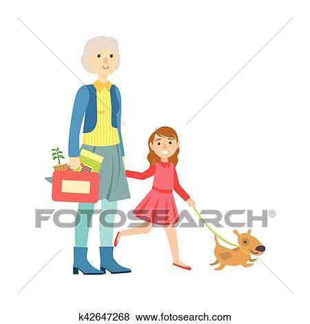 Grand Père Et Petite Fille Promener Chien Partie Grand Père Et Petit Enfant Temps Passager Ensemble Ensemble De Illustrations Clipart