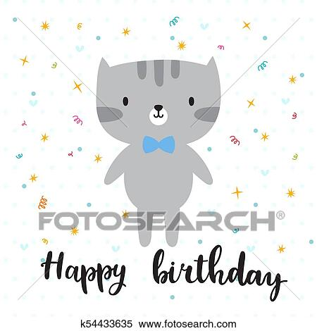 Clipart Of Happy Birthday Cute Little Kitty Greeting Card Or