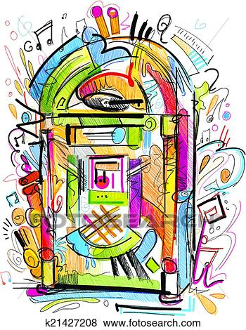 clip art of jukebox sketch k21427208 search clipart illustration rh fotosearch com jukebox clipart free jukebox clipart free
