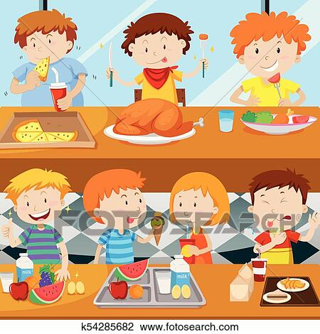 Many Kids Eating In The Canteen Clipart K54285682 Fotosearch