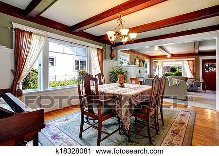Stock Fotografie   Offenes, Wandgestaltung, Essen, Und, Wohnzimmer.  Fotosearch   Suche