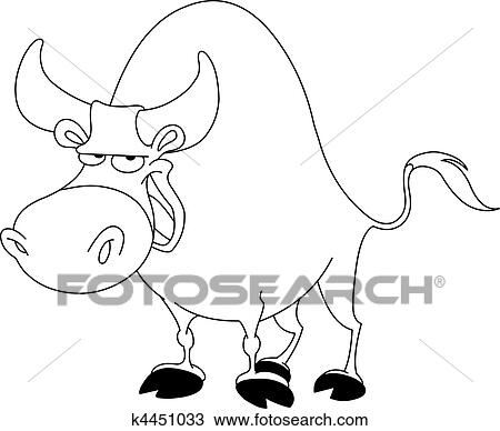 clipart of outlined bull k4451033 search clip art illustration