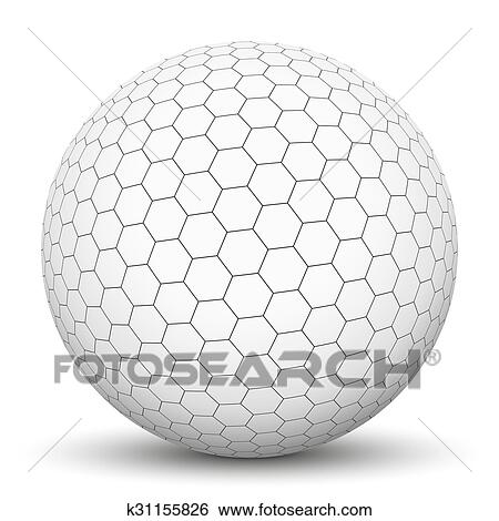 White 3D Sphere With Mapped Black And White Honeycomb Texture   Vector  Illustration