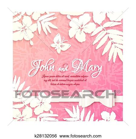 White Cutout Paper Tropical Flowers On Pink Background