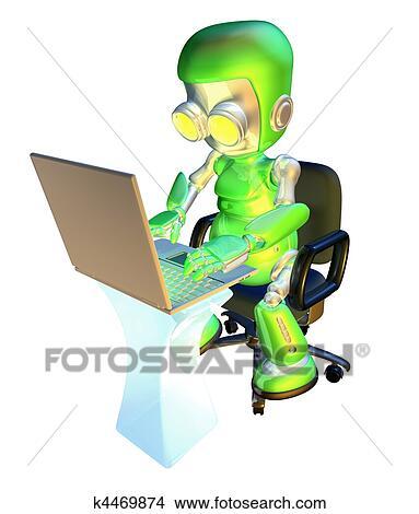 Kresby 3d Chutny Bledy Robot Charakter Pouzivat Laptop