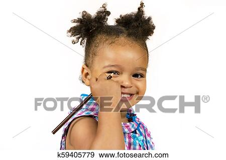 Adorable African Child With Curly Hair Stock Photo K59405779 Fotosearch