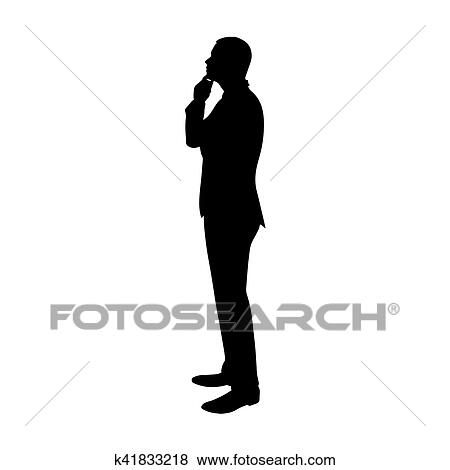 Clip Art Of Business Man Thinking Profile Side View Vector