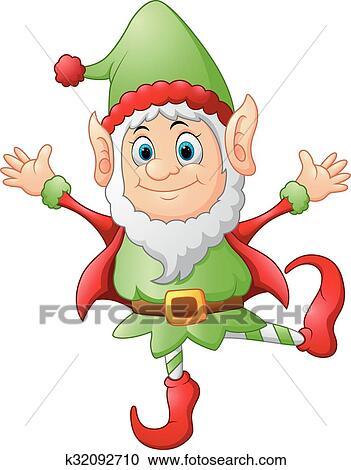 Christmas Pictures Cartoon.Cartoon Christmas Elf Waving Iskarpa