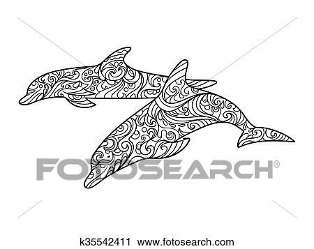 Clipart Delfin Ausmalbilder Für Erwachsene Vektor K35542411