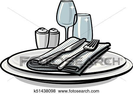 Gedeckter tisch, auf, tisch Clip Art | k51438098 | Fotosearch