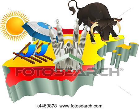 clip art of illustration spanish tourist attractions in spain rh fotosearch com tourist clipart png tacky tourist clipart
