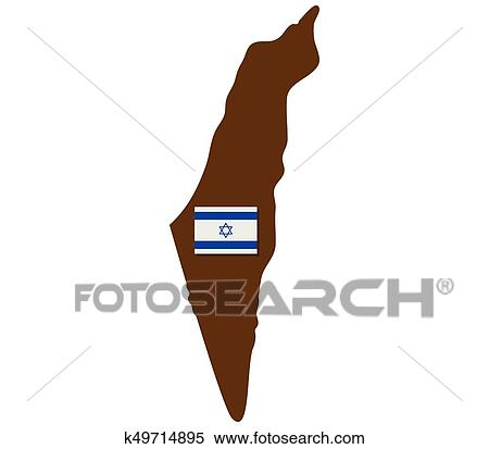 Good Clipart   Israel Map With Flag. Fotosearch   Search Clip Art, Illustration  Murals,