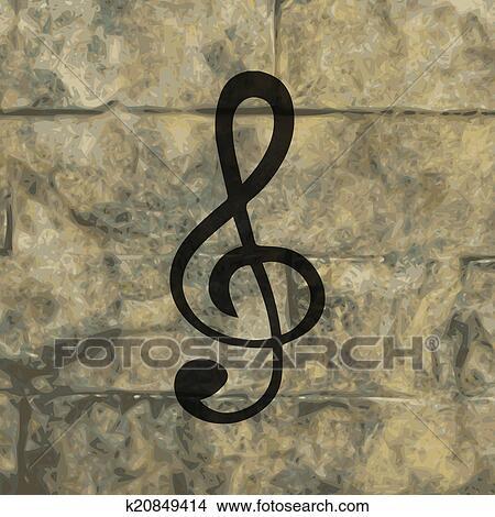 notenschlüssel, icon., flache, mit, abstrakt, hintergrund
