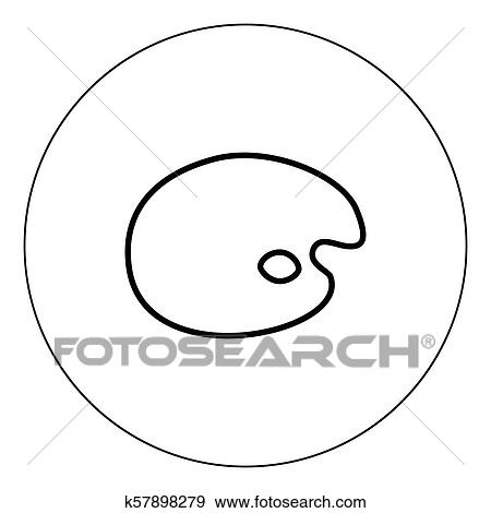Clip Art Of Palette Icon Black Color In Circle K57898279