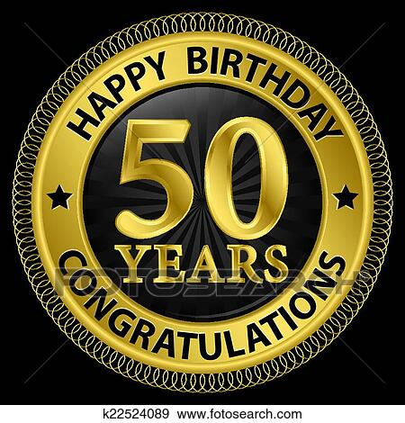 Clip Art 50 Anni Buon Compleanno Congratulazioni Oro