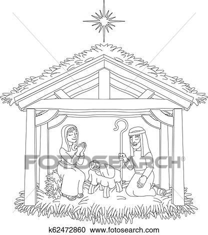 Christmas Nativity Scene Cartoon Coloring Clipart ...