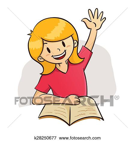 clip art of girl raising hand while study k28250677 search clipart rh fotosearch com