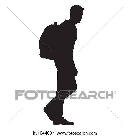 Con Espalda Suyo Hombre En Caminar Art Mochila Clip El qnPpwtg7xW
