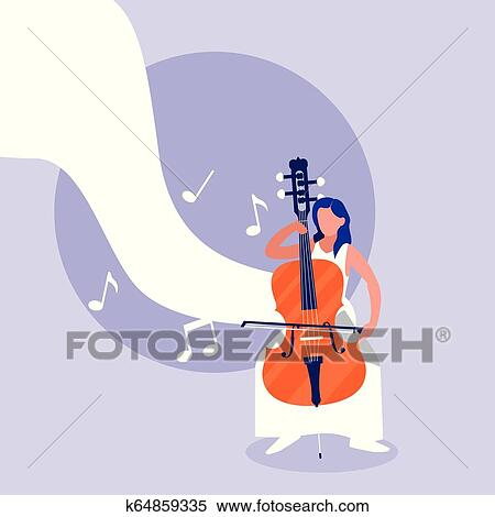 Man Playing Cello Instrument Clipart K64859335 Fotosearch