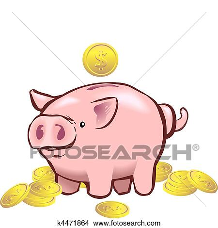 clipart of piggy bank moneybox k4471864 search clip art rh fotosearch com piggy bank clip art free piggy bank clipart black and white