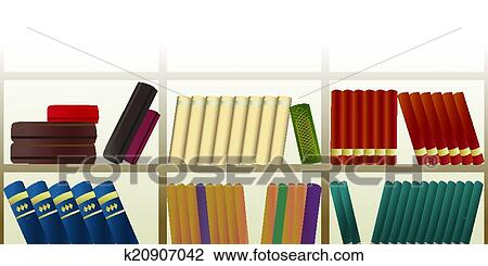 Horizontal Seamless Pattern With Retro Bookshelf Full Of Books