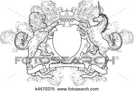 schild wapenschild leeuw eenhoorn kroon clipart