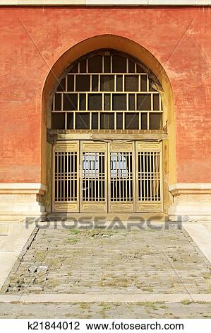 stock photo of traditional chinese style wooden lattice windows