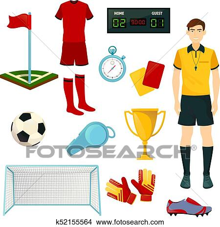 Vector Icons For Soccer Or Football Sport Game Clipart K52155564 Fotosearch