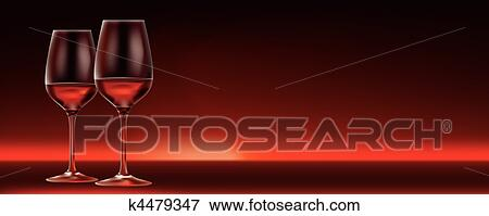 Vector Red Wine For Two Banner With Lots Of Copy Space Clip Art K4479347 Fotosearch