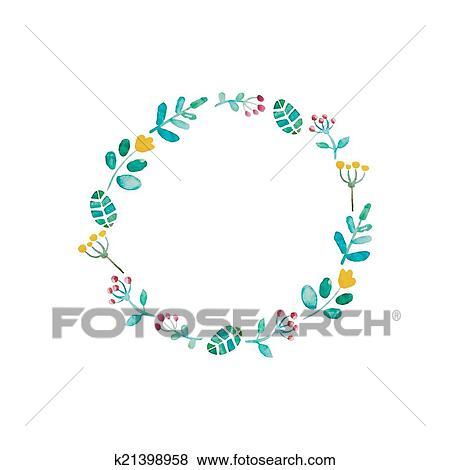 Clip Art - acuarela, flor, marco k21398958 - Buscar Clip Art ...
