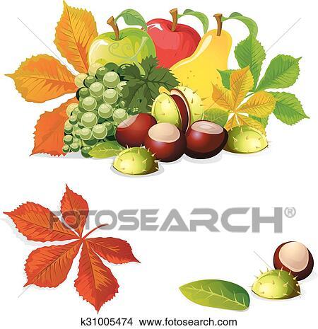 Clipart autunno frutta e foglie vettore illinois for Clipart frutta