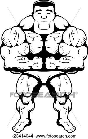 Bodybuilder Flexing Clipart