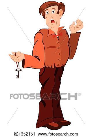 Cartone animato uomo con chiave e bocca aperta clipart