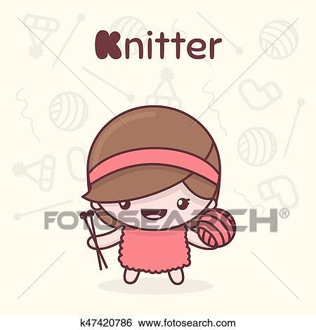 Clip Art Of Cute Chibi Kawaii Characters Alphabet Professions