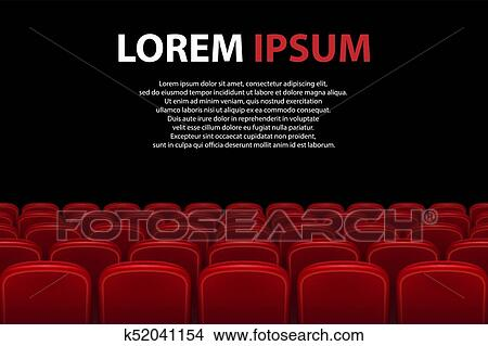 Clipart Of Empty Movie Theater Auditorium With Red Seats Rows