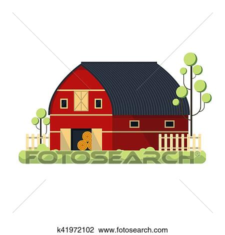 Clipart Of Farming Barn Flat For Storing Hay