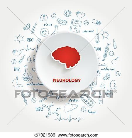 Iconos, para, médico, specialties , neurología, concept , vector,  ilustración, con, mano, dibujado, medicina, doodle  Clip Art