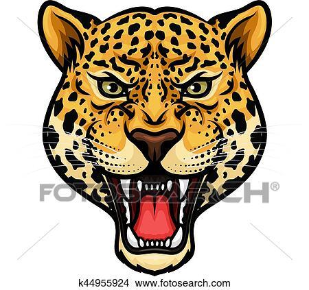 clipart jaguar t te isol dessin anim mascotte conception k44955924 recherchez des. Black Bedroom Furniture Sets. Home Design Ideas