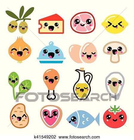 Kawaii かわいい 食物 特徴 肉 野菜 日記 アイコン セット