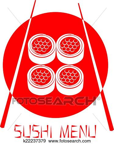 Clip Art Of Red Logo Of The Japanese Restaurant Sushi With Red