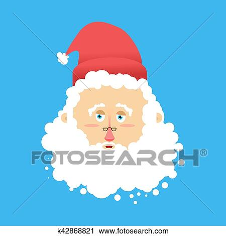 fff436e7bc8fb Clipart - Santa Claus laugh Emoji. Cheerful Santa face grandfather with  beard and mustache isolated