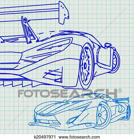 Clipart - sportwagen, skizze, blaupause k20497971 - Suche Clip Art ...