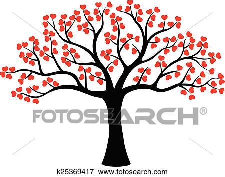 Clipart stylis amour arbre dessin anim fait de - Clipart amour ...