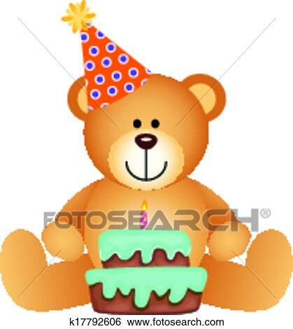 Clip Art Of Teddy Bear With Birthday Cake K17792606