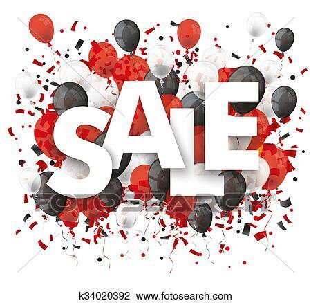 Vente Noir Rouge Blanc Ballons Confetti Dessin