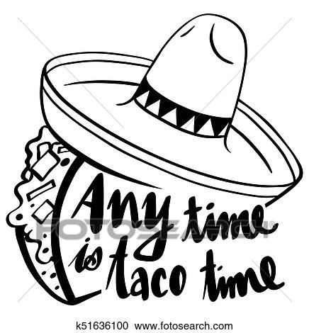 Word Expression For Anytime Is Taco Time Clipart K51636100